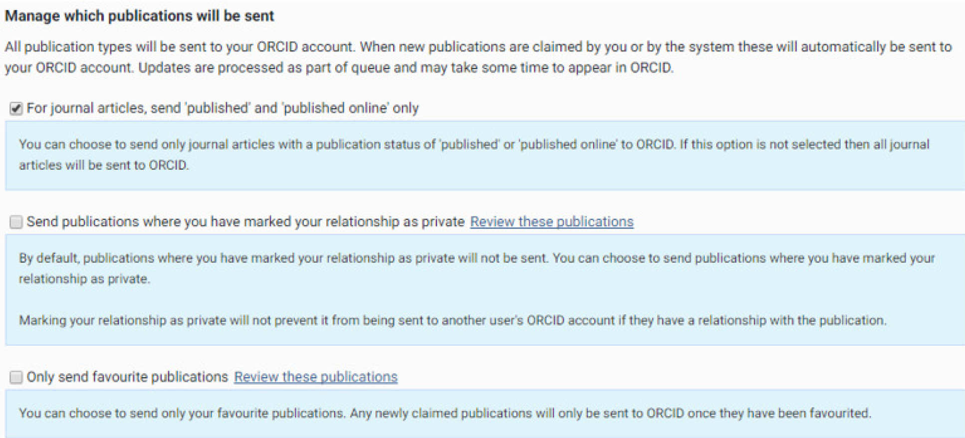 Manage which publications will be sent options displayed