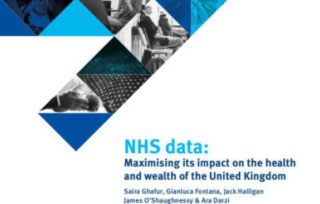 blue triangles forming a point and report title: NHS Data: Maximising its impact on the health and wealth of the UK