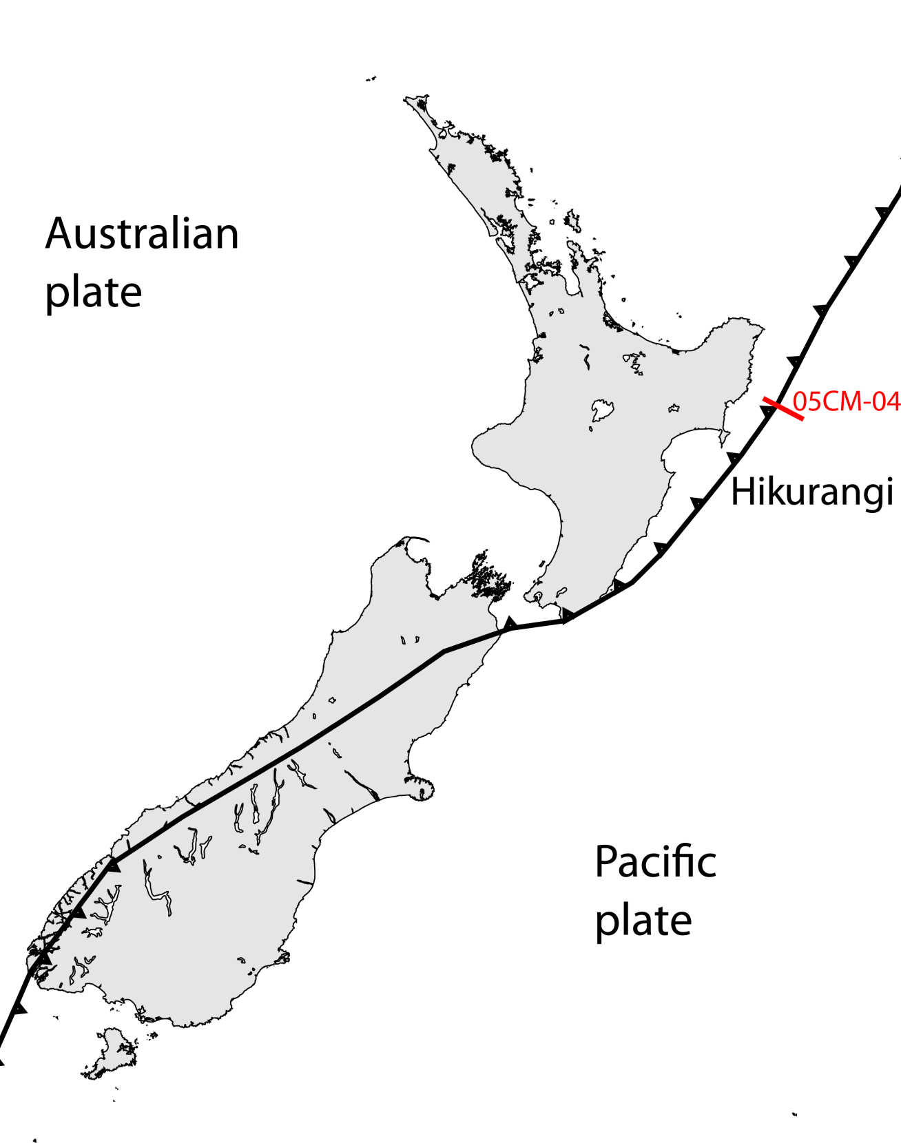 Plate boundary under New Zealand, showing the Hikurangi subduction zone near the north island.