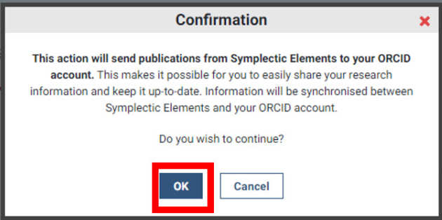 ORCID confirmation pop up