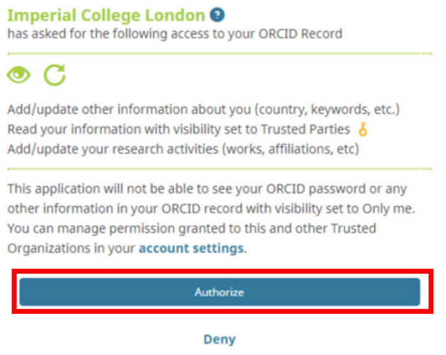 ORCID authorize button highlighted