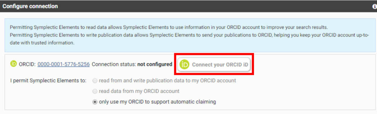 Connect ORCID ID button highlighted