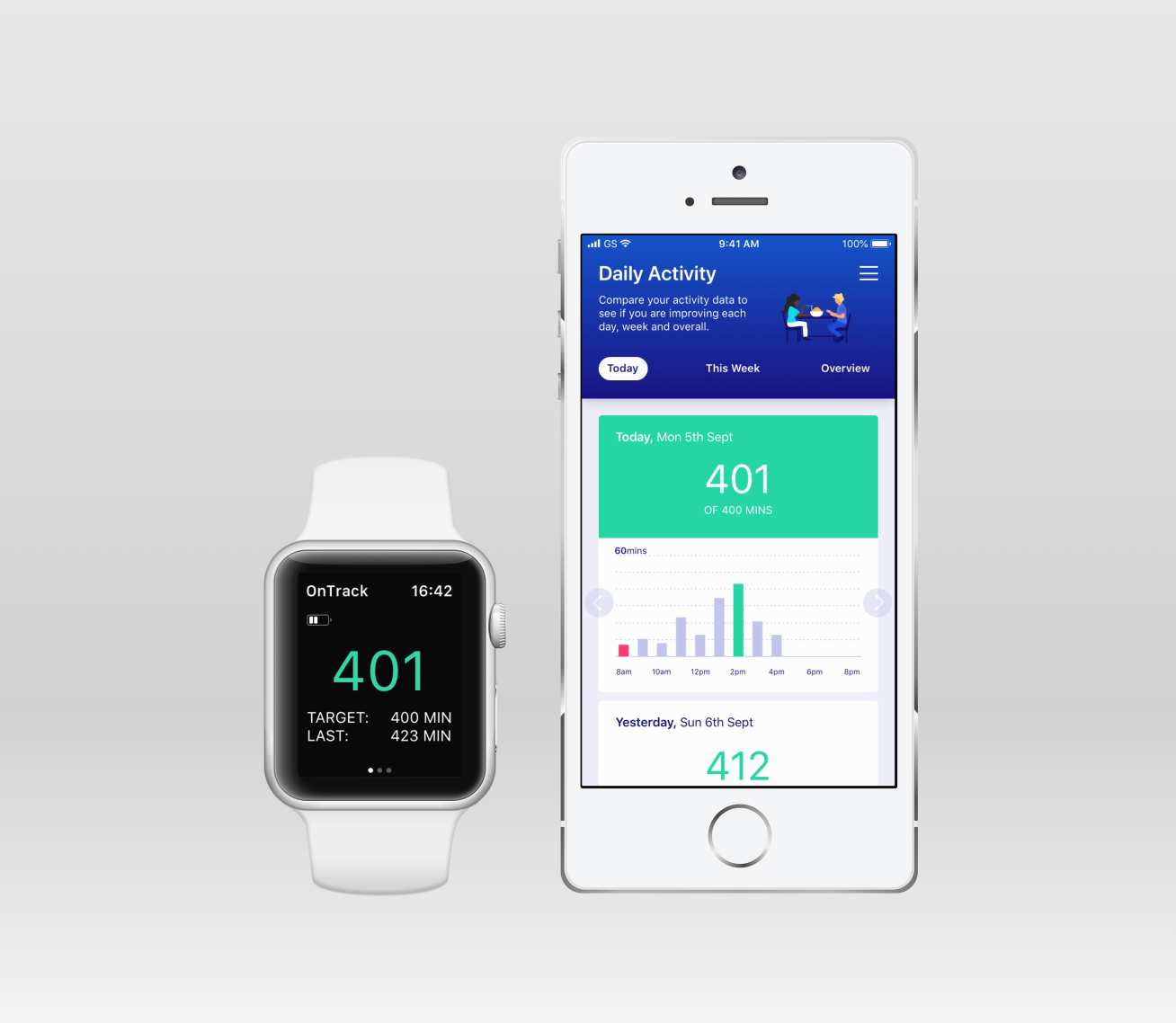 A graphic showing an apple watch and iphone displaying activity data