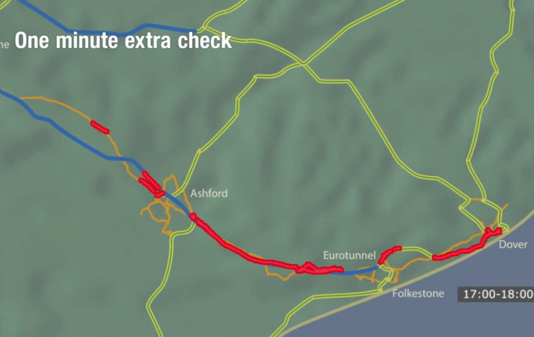 Map showing predicted queue length after one minute extra check per vehicle