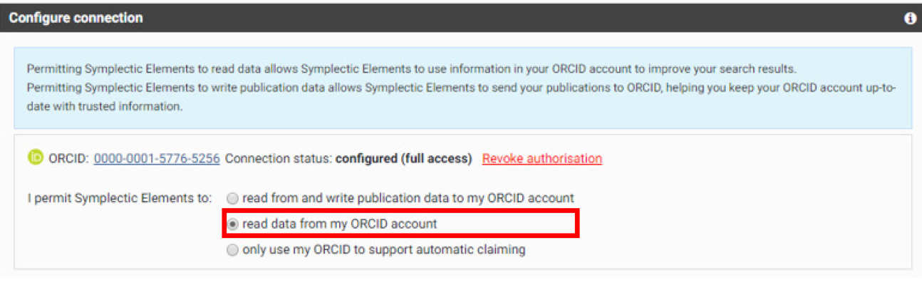 Symplectic configure connection box with read data from my ORCID account option highlighted
