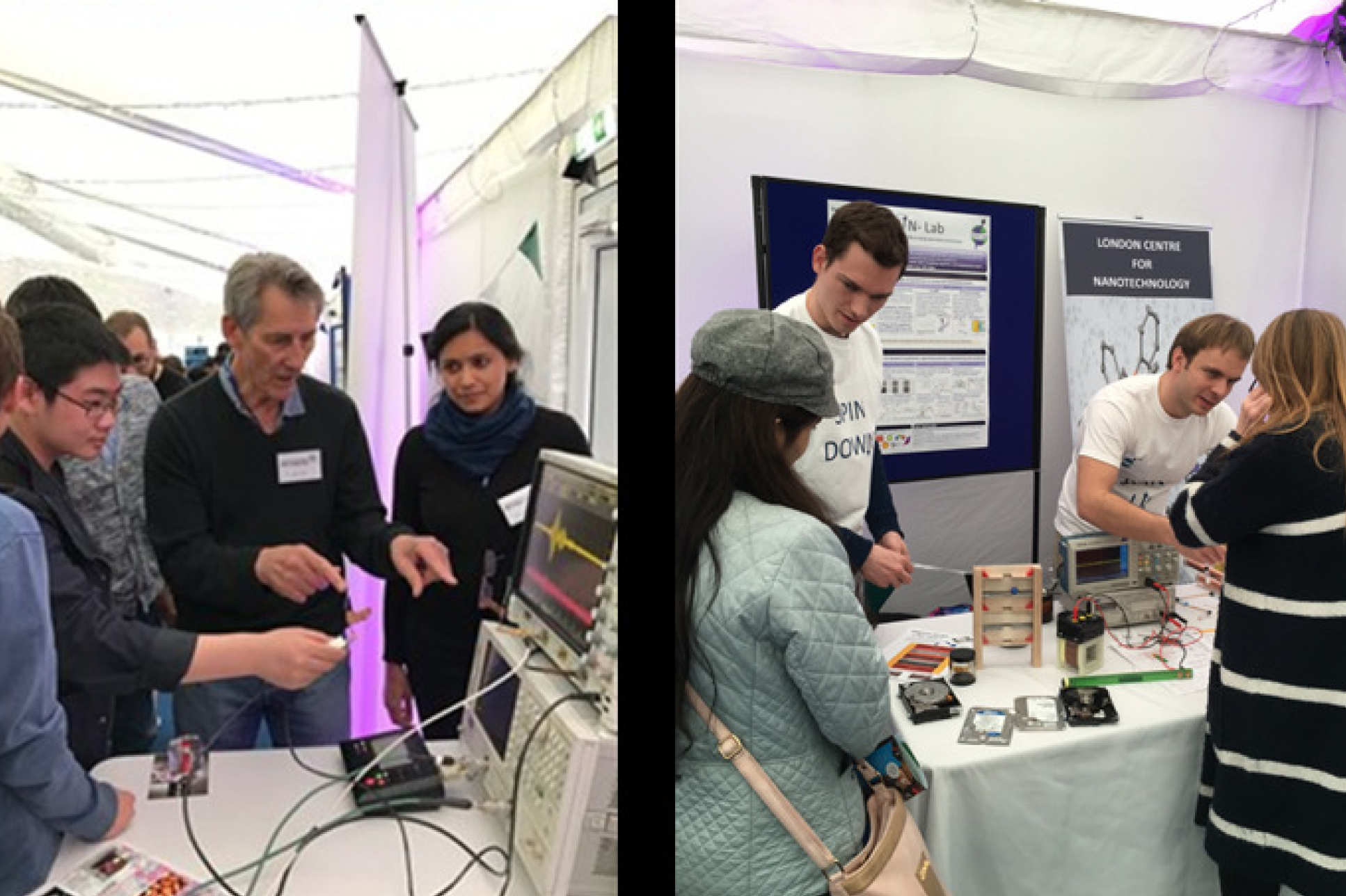LCN researchers at the Imperial Festival, at the Amazing Masers (left) and SPIN-Lab (right) stands.