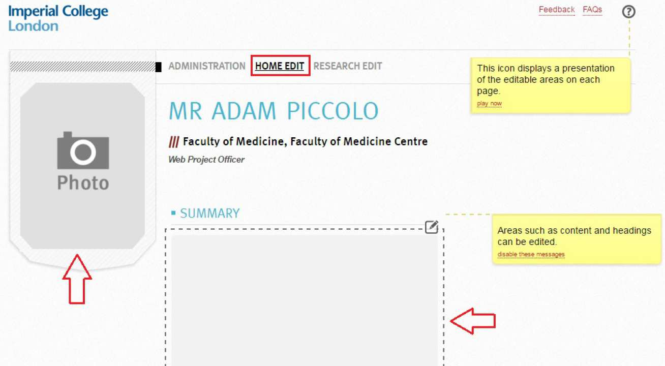 Activating and editing your PWP | Imperial College London