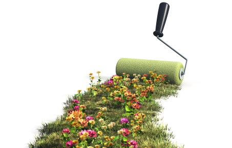 Paint roller with flowers