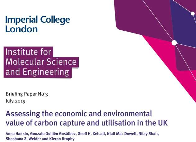 Image of the front cover of the briefing paper on carbon capture and utilisation