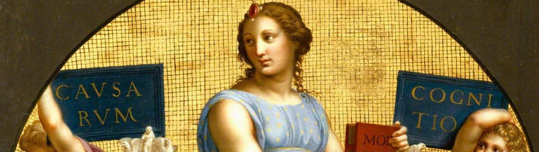 Cropped image of painting called hilosophy by Raphael