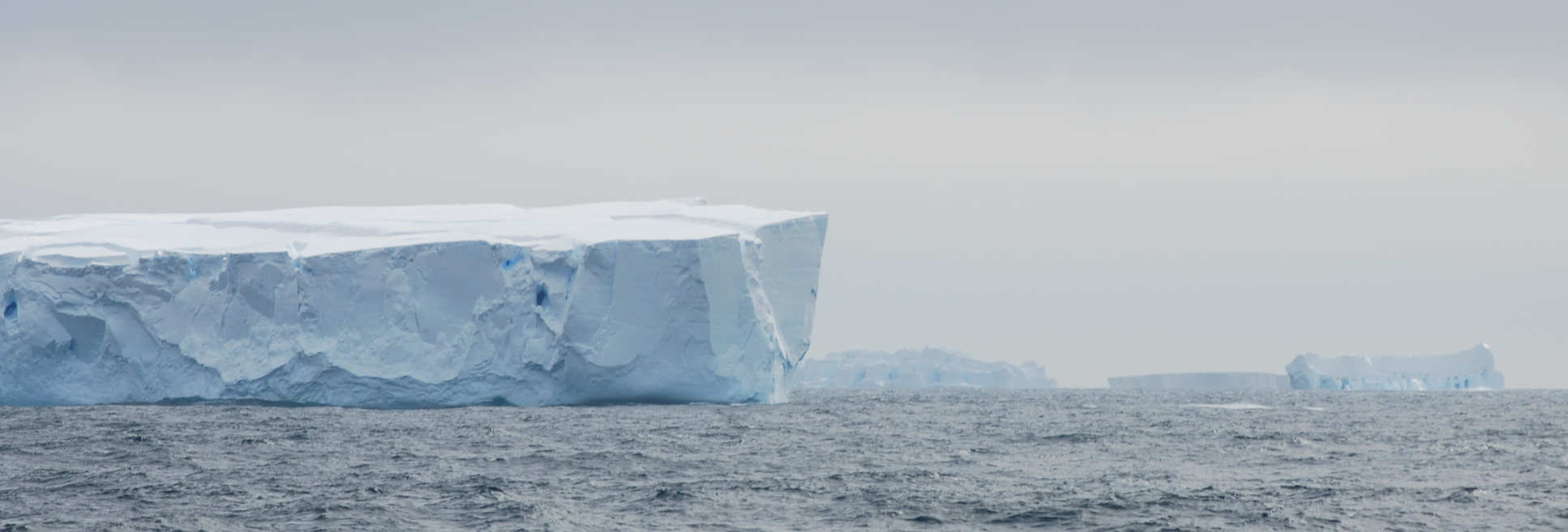 Photo of icebergs in the Southern Ocean, taken on expedition near the Wilkes Subglacial Basin