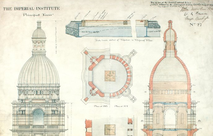 Plan of the Queen's Tower in the Imperial Institute, Archives Imperial College