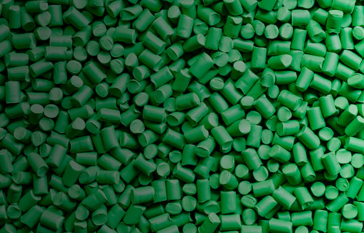Green plastic pellets