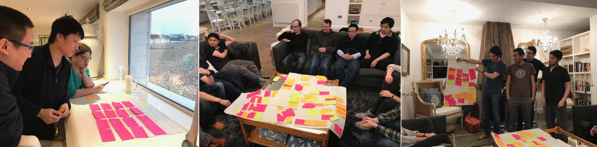 Photos of brainstorming activities using lots of postit notes
