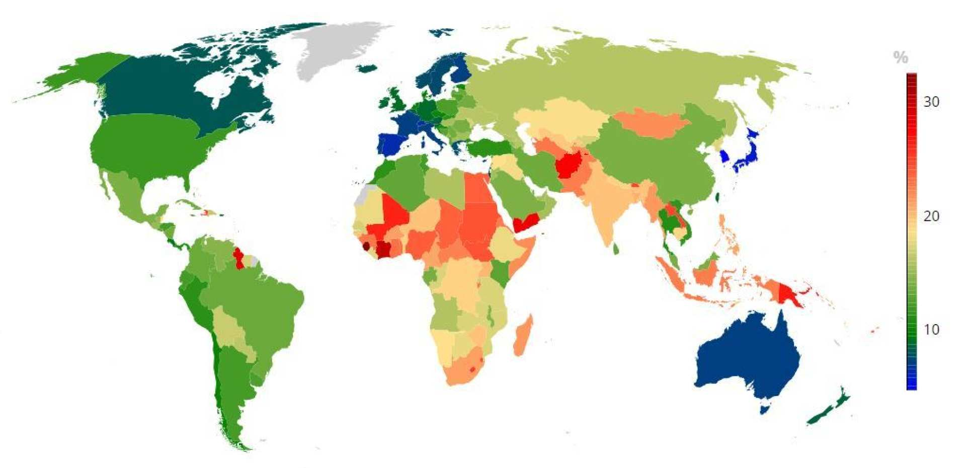 World map showing the probability of dying early from chronic disease between 30 and 70 years of age