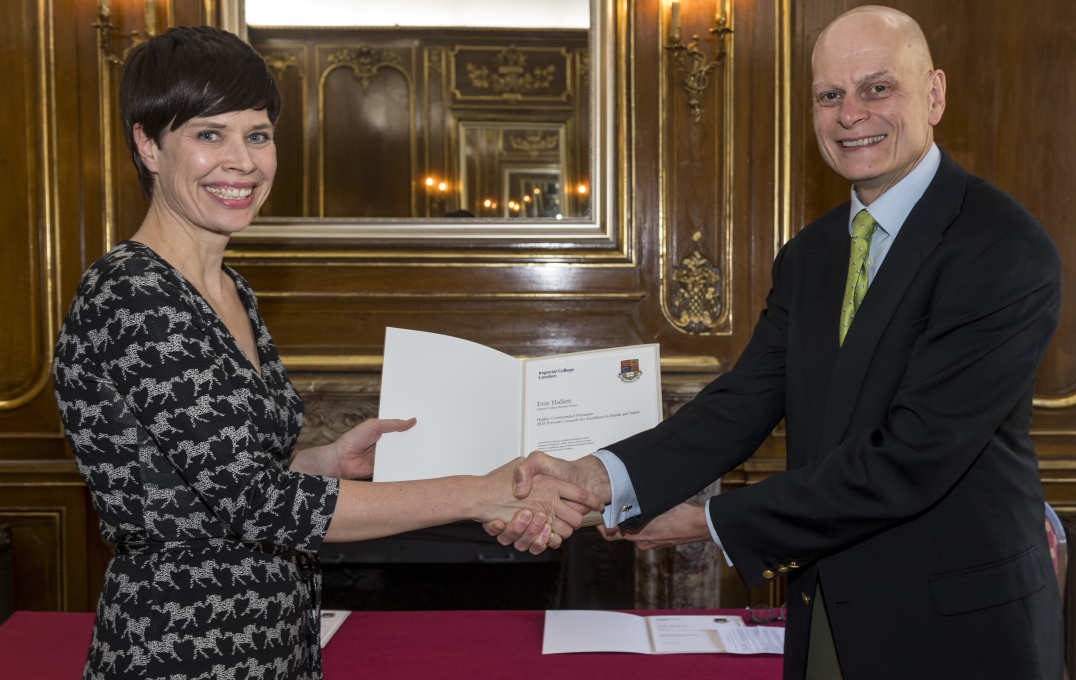 Provost Ian Walmsley with Erin Hallett of Imperial College Business School