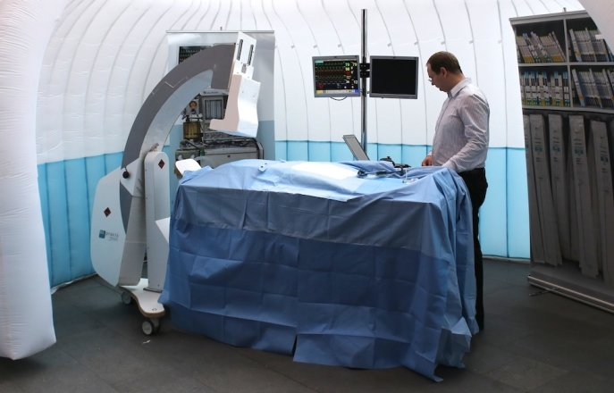 inflatable operating theatre with cardiology simulation equipment