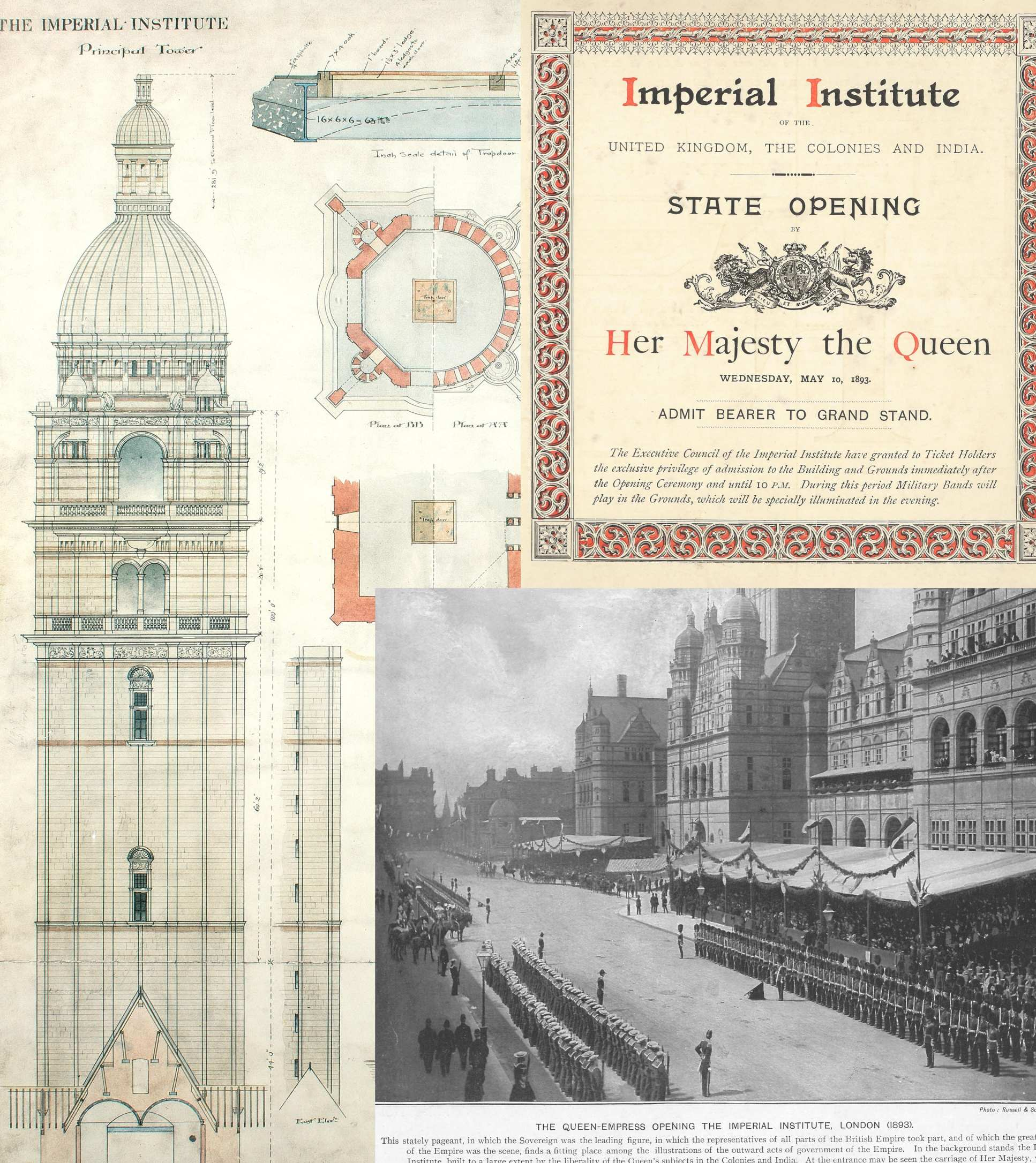 Items from the Imperial College Archives relating to the Queen's Tower - plan, ticket to state Opening and news report