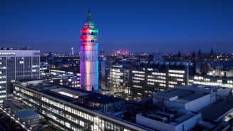 Queen's Tower lit up for LGBT History Month