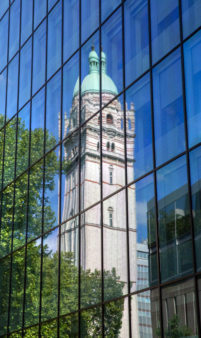 Reflection of the Queen's Tower. Photograph by Thomas Angus, Imperial College London