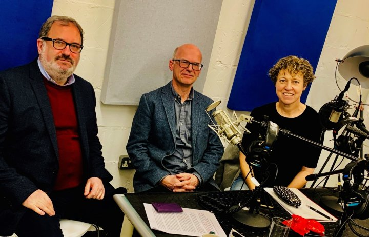 Richard Templer, Peter Childs and Amanda Carpenter sitting in the podcast studio
