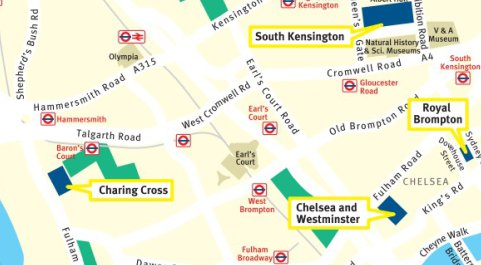 Map of South Kensington area