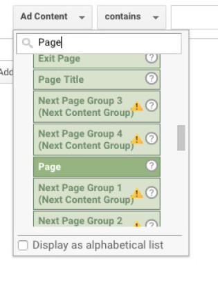 Select Page from the filter list