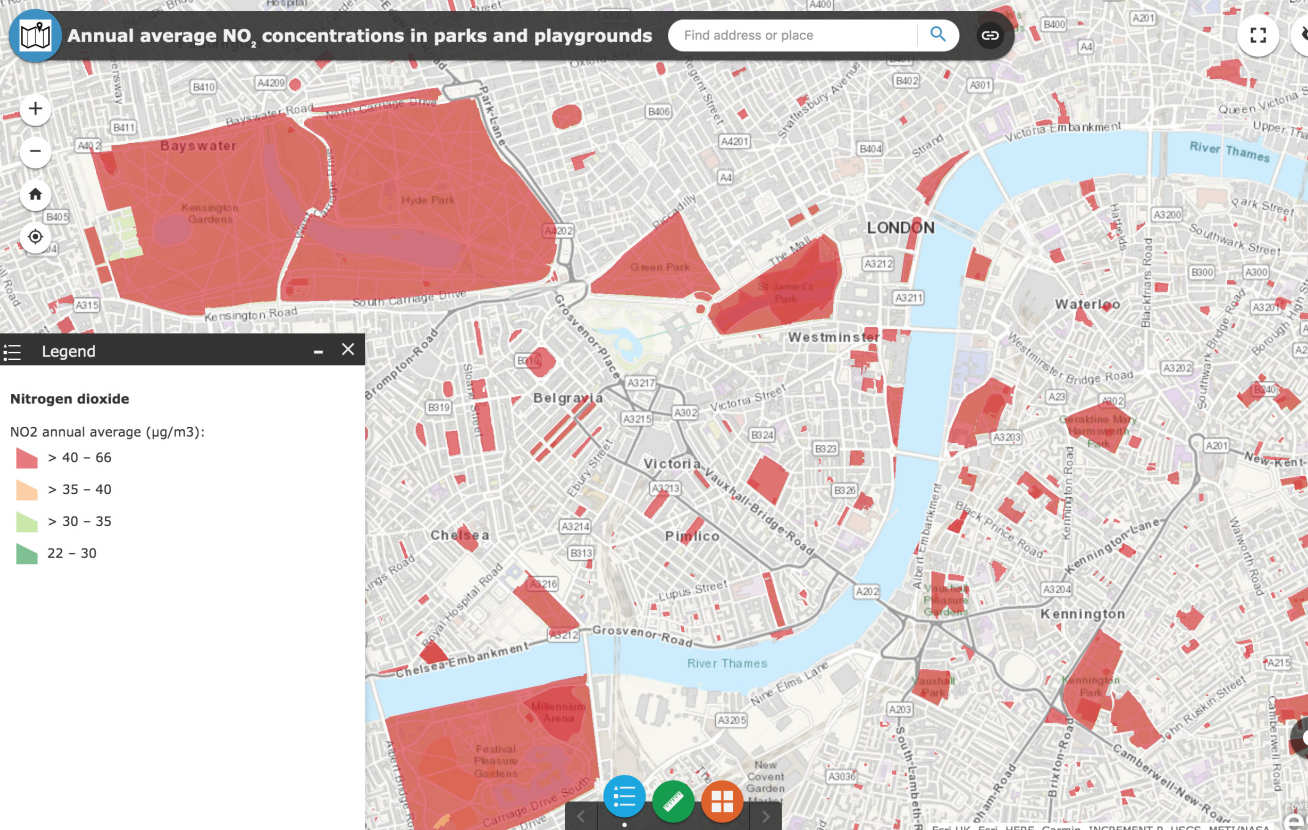 The team have launched an online tool that reveals nitrogen dioxide levels in London's parks and green spaces