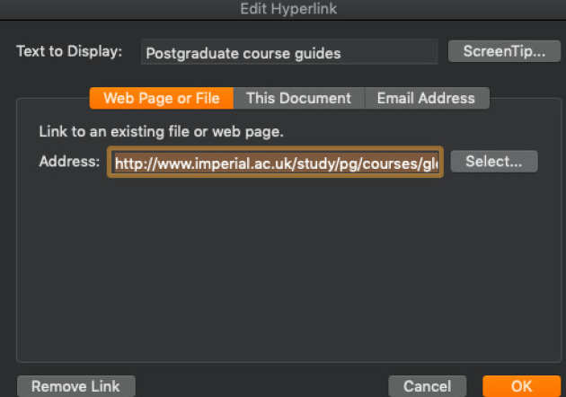 The 'Edit Hyperlink' screen with 'Postgraduate course guides' entered in the 'Text to Display box'.