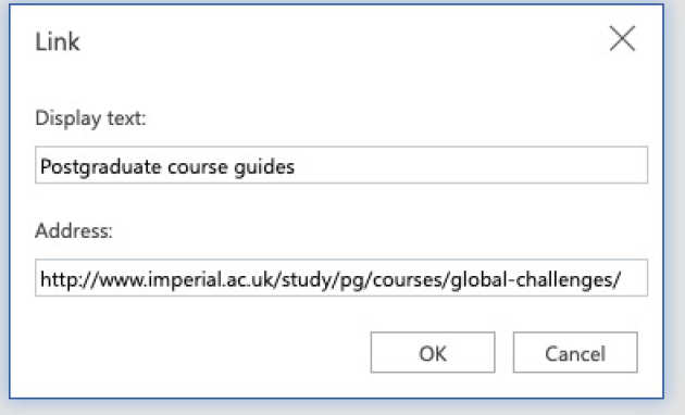 Screenshot of the 'Link' screen with 'Postgraduate course guides' entered in the 'Text to Display box'.