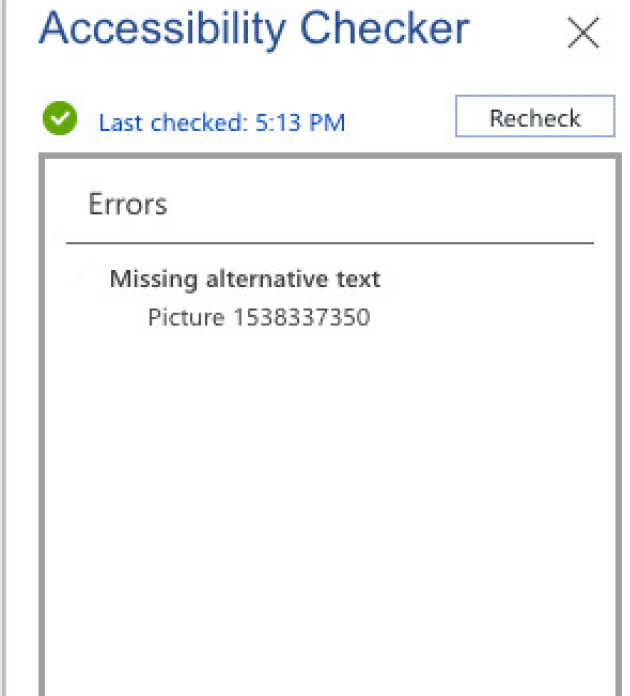 Screenshot of the accessibility check results