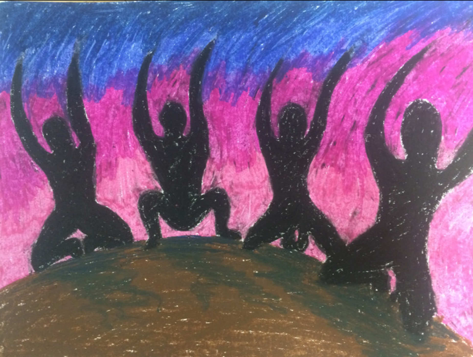 An illustration from one of study participants showing four kneeling shadows on a mound of earth waving their arms against a colourful background.