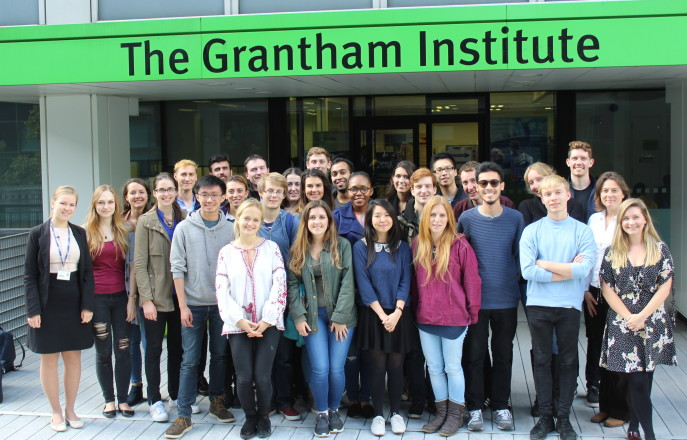 Cohort 4 students outside the Grantham Institute