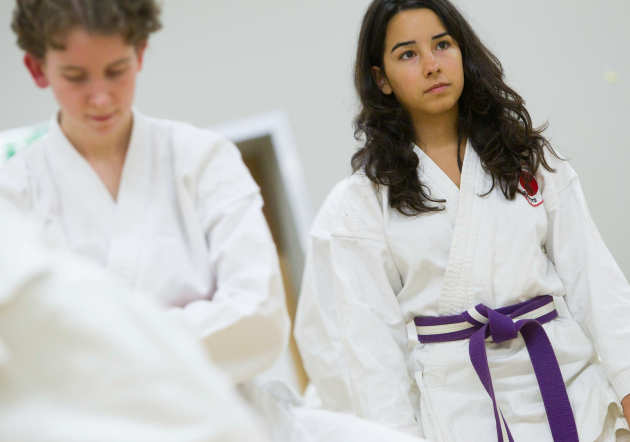 Students taking part in karate session