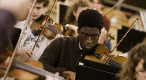 Students practicing their music in the Imperial College Symphony Orchestra. Photographer: F J Gaylor