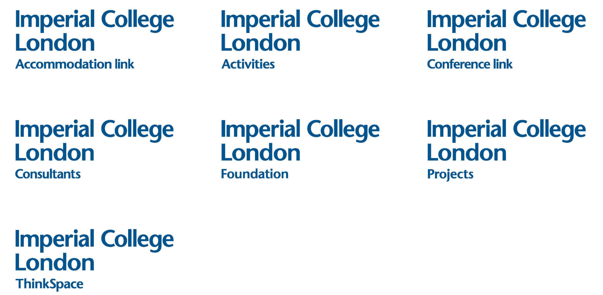 The Imperial College London logo with 7 sub-brands which include; Accommodation Link, Imperial Consultants, Activities, Foundation, Conference Link, Projects and Thinkspace.