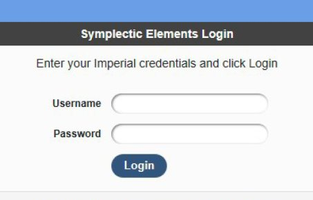 Symplectic log in page screenshot