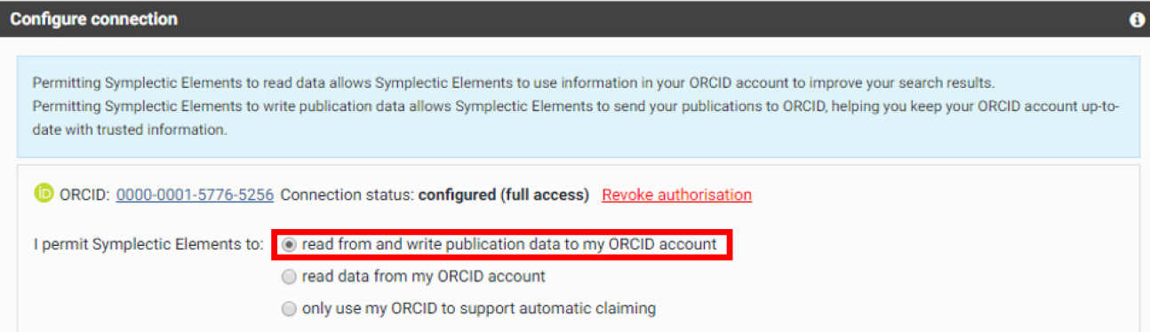 Symplectic configure connection box with read from and write publication data to my ORCID account highlighted