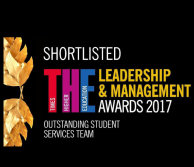 Shortlisted for the Times Higher Education Leadership and Management Award in the outstanding student services team category