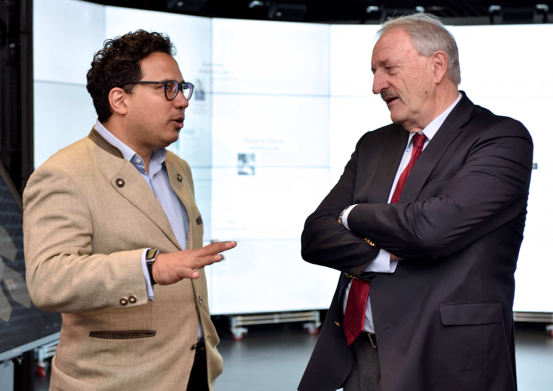 Imperial's Dr Aldo Faisal with President Wolfgang Herrmann in the Data Science Institute