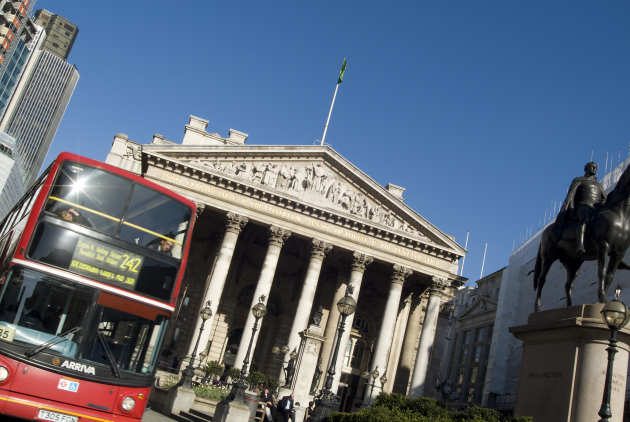 London bus and Royal Exchange building