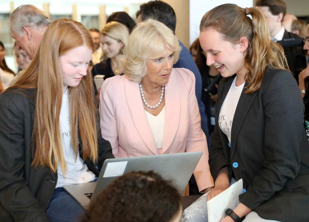 HRH The Duchess of Cornwall talks to West London schoolgirls learning to code at YOOX NET-A-PORTER GROUP's Tech Hub.