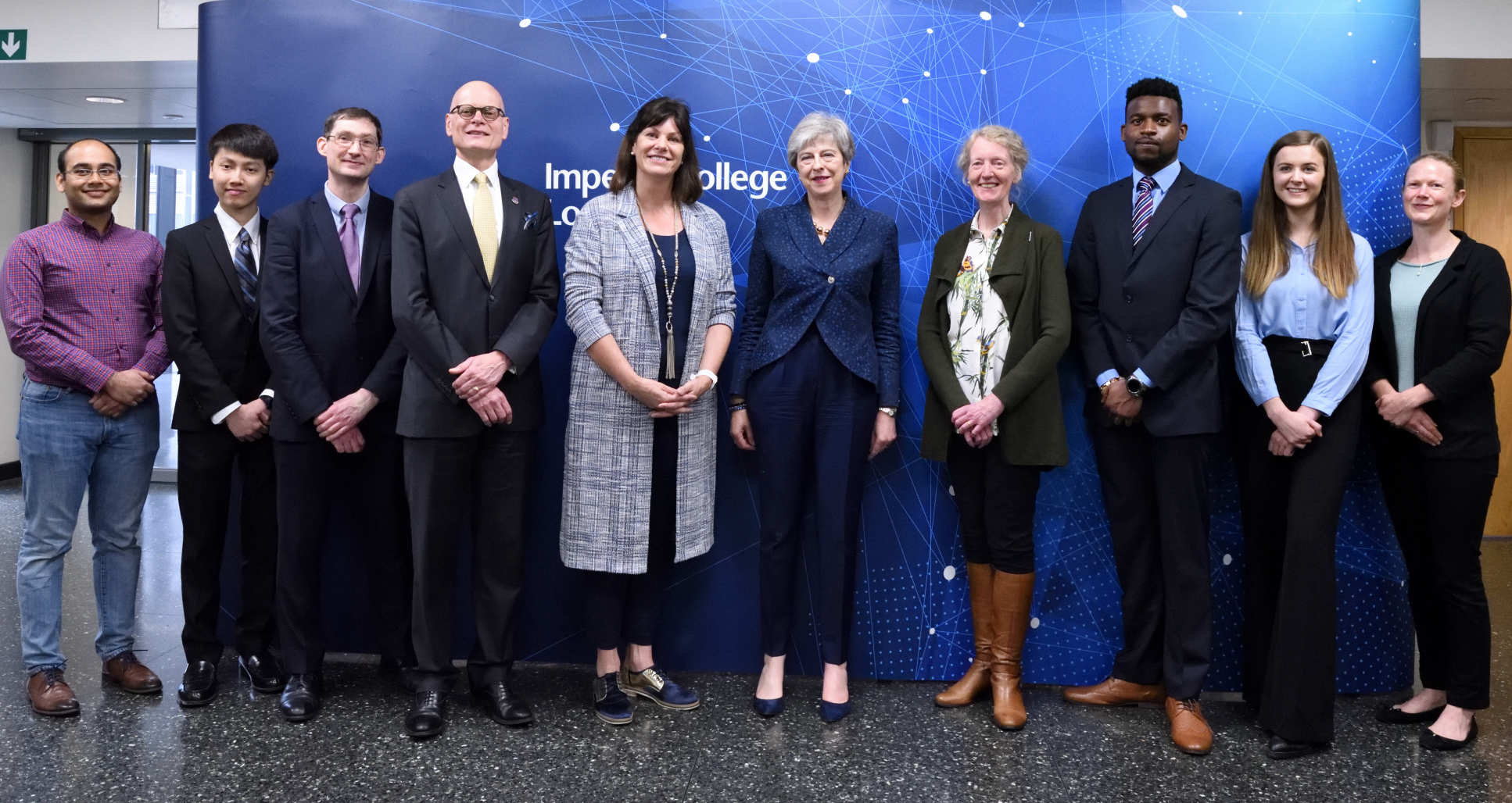 Prime Minister Theresa May with students and academics at Imperial