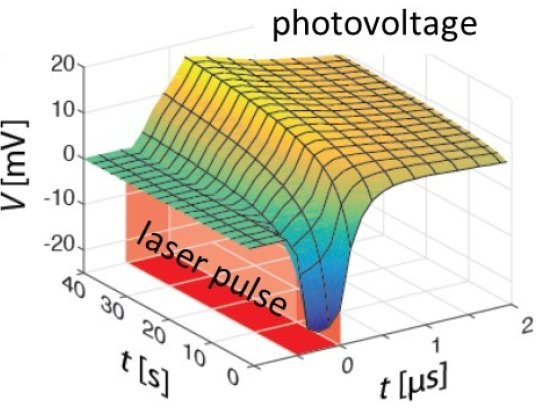 Transient of the transient photovoltage measurements of a perovskite solar cell