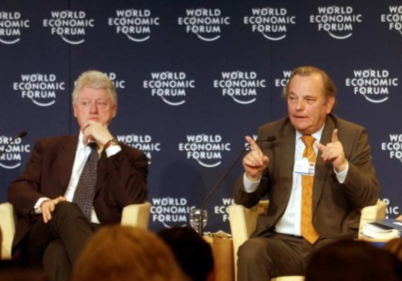 At the World Economic forum alongside Bill Clinton