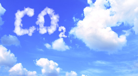 Clouds in the shape of the letters CO2
