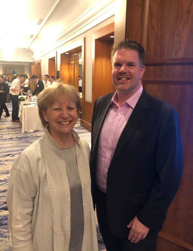 Professor Maggie Dallman with former student Richard Speight
