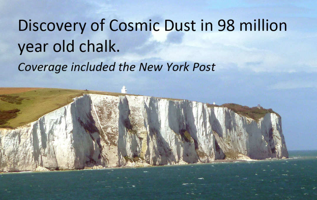 Cosmic dust in the white cliffs
