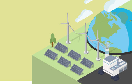 graphic showing a globe, power station, wind turbines and solar panels