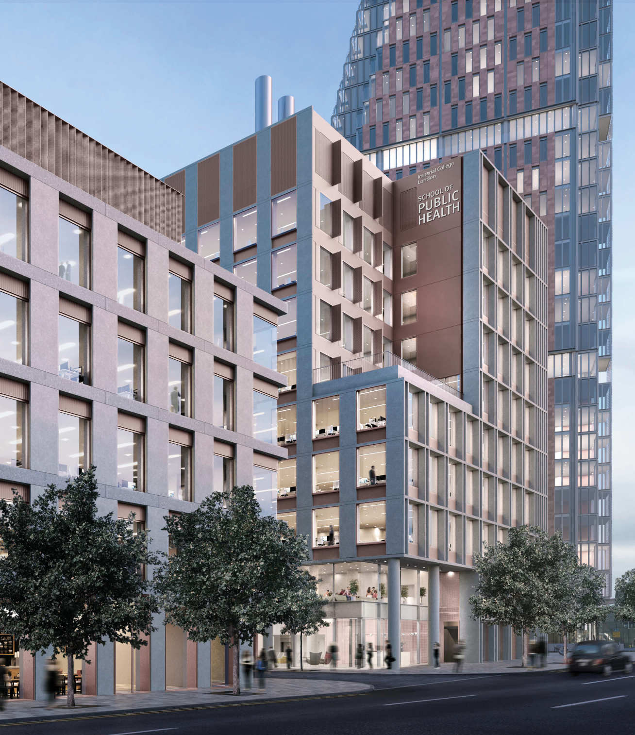 A CGI of the future School of Public Health from the perspective of Wood Lane